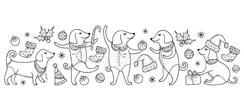 Wektor granica z konturu szczęśliwym psem w czerni odizolowywającym na białym tle Symbol Chiński nowy rok 2018 w konturu stylu ilustracja wektor