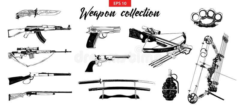 Wektor grawerował stylową ilustrację dla logo, emblemata, etykietki lub plakata, Ręka rysujący nakreślenie set różne bronie ilustracja wektor