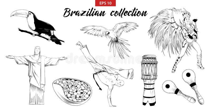 Wektor grawerował stylową ilustrację dla logo, emblemata, etykietki lub plakata, Ręka rysujący nakreślenie set Brazylijski karnaw ilustracja wektor