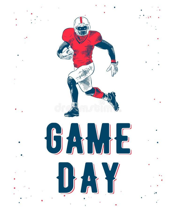Wektor grawerował stylową ilustrację dla plakatów lub koszulka druków Ręka rysujący nakreślenie futbolu amerykańskiego gracz ilustracji
