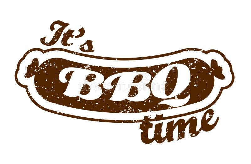 wektor Grill kiełbasa: It& x27; s grilla czas Lata bbq BBQ sezon BBQ plakat Lato pinkin plenerowy Rodzinny BBQ dzień royalty ilustracja