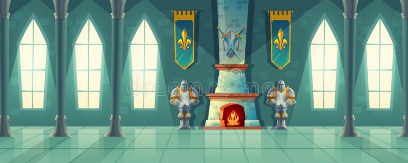 Wektor grodowa sala, wnętrze królewska sala balowa ilustracji