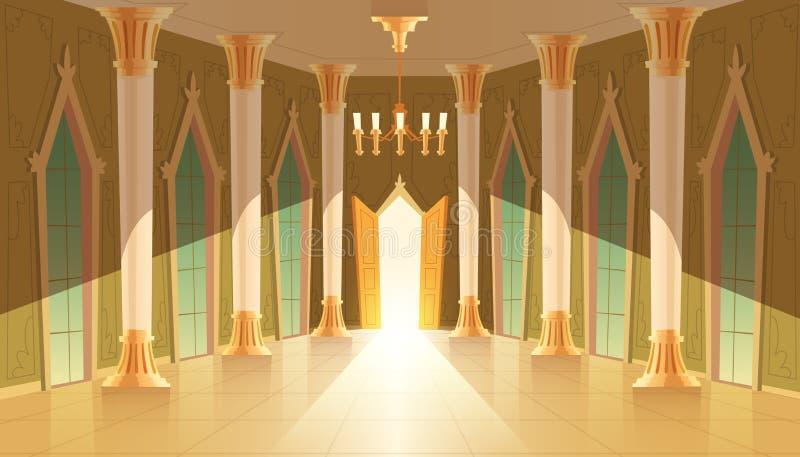 Wektor grodowa sala, wnętrze królewska sala balowa ilustracja wektor