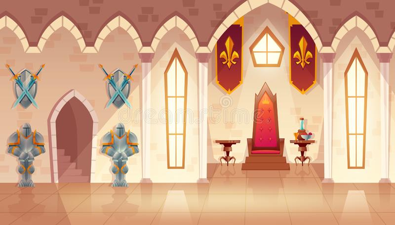 Wektor grodowa tronowa sala, wnętrze królewska sala balowa ilustracja wektor