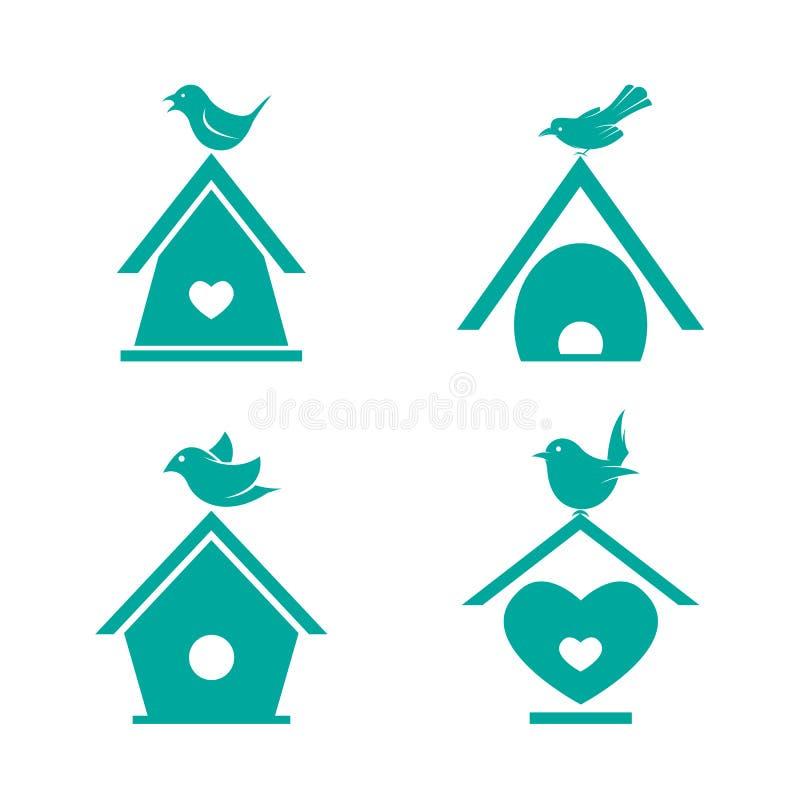 Wektor grupa ptasi domy ilustracji