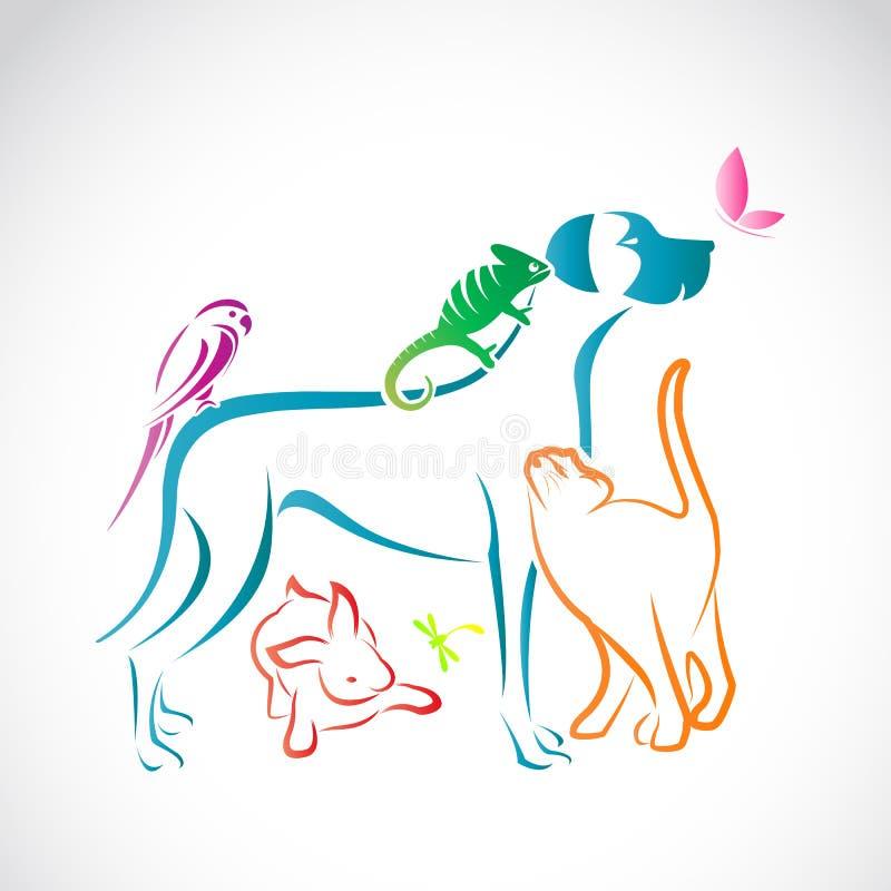 Wektor grupa zwierzęta domowe ilustracji
