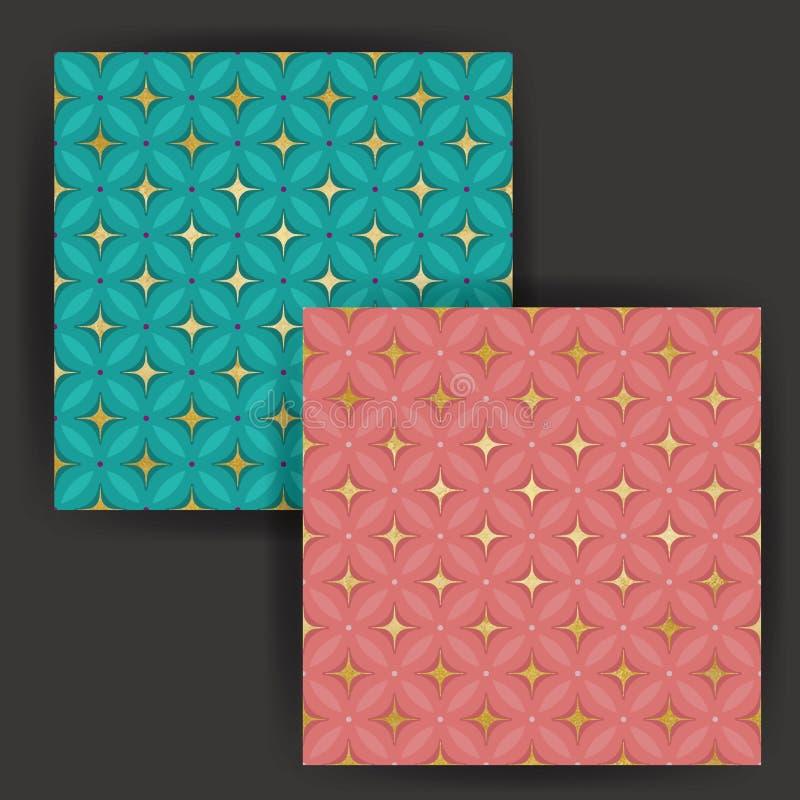 Wektor gwiazdy płytki Bezszwowy wzór z Złocistej folii znaczka skutkiem zdjęcia stock
