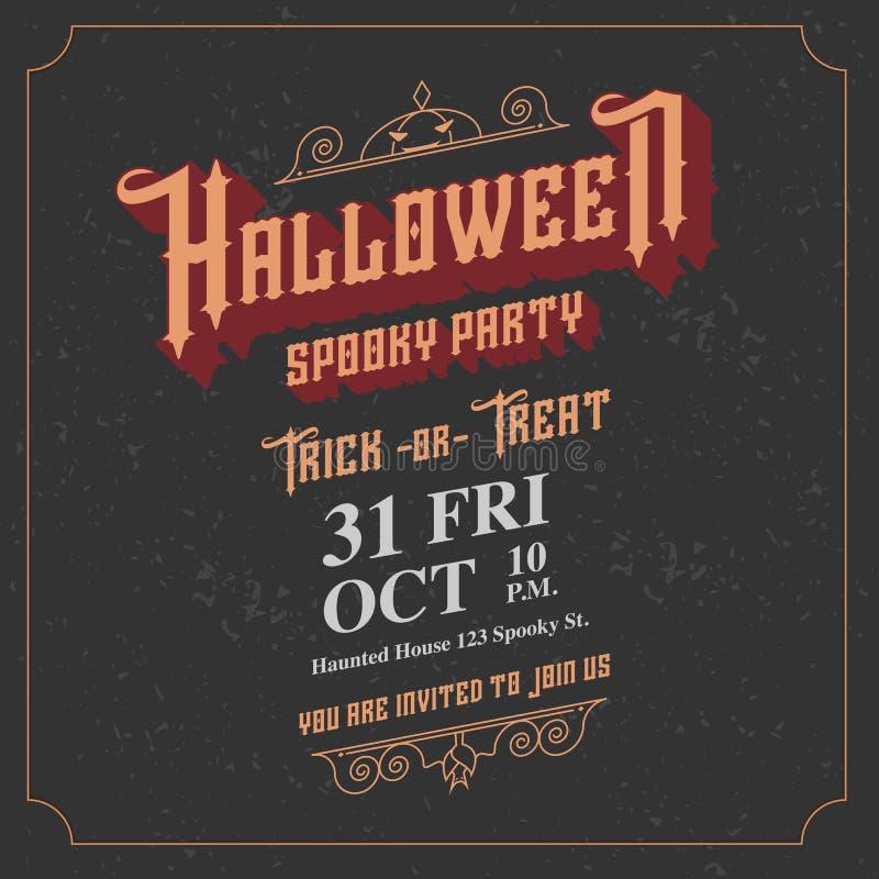 Wektor, Halloweenowa straszna partyjna zaproszenie karta z rocznika ornam royalty ilustracja