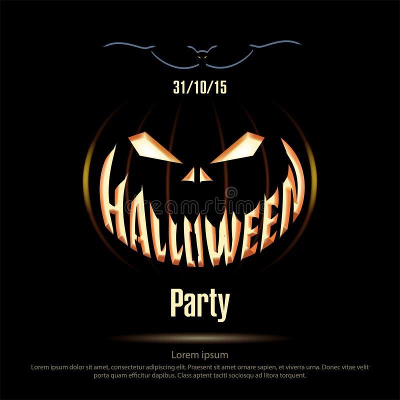 wektor Halloweenowy plakat na czarnym tle royalty ilustracja