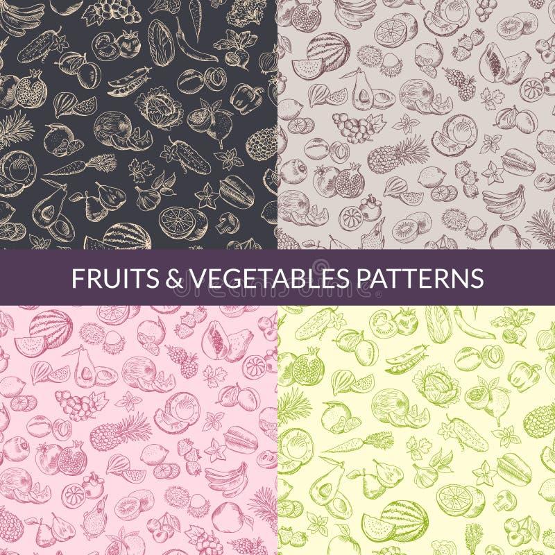 Wektor handsketched owoc i warzywo weganinu, zdrowy jedzenie, organicznie wzory ustawiający ilustracja wektor