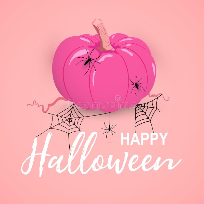 Wektor Happy Halloween różowa karta z dynią i pająkami ilustracji