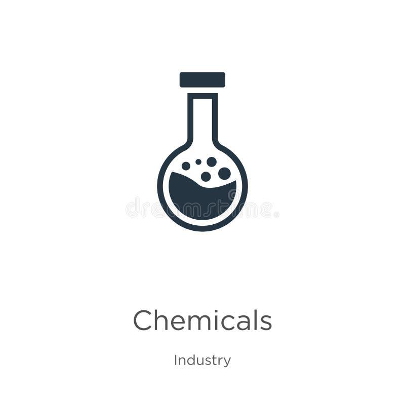 Wektor ikon substancji chemicznych Ikona Trend flat chemicals z kolekcji branżowej wyizolowanej na białym tle Ilustracja wektorow royalty ilustracja