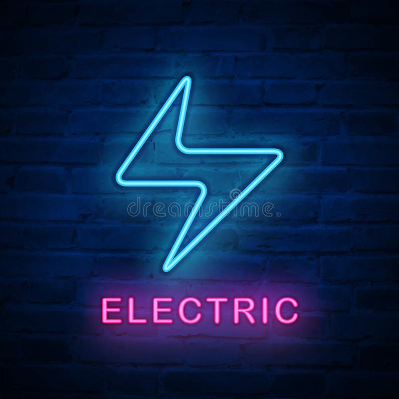 Wektor iluminujący neonowego światła ikony znaka elektryczny oświetlenie royalty ilustracja