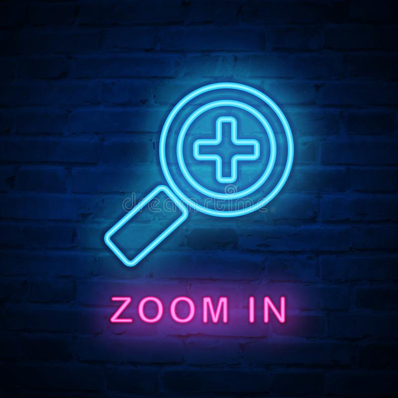 Wektor iluminujący neonowego światła ikony znaka megaloscope zbliża wewnątrz ilustracji