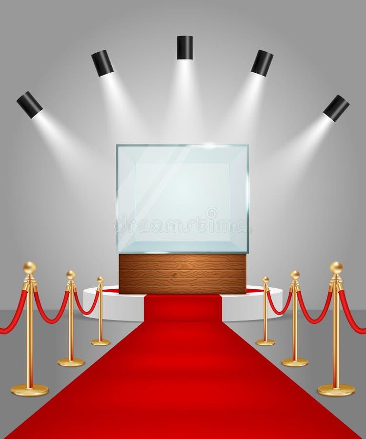 Wektor iluminujący podium z czerwonym chodnikiem i gablotą wystawową ilustracji
