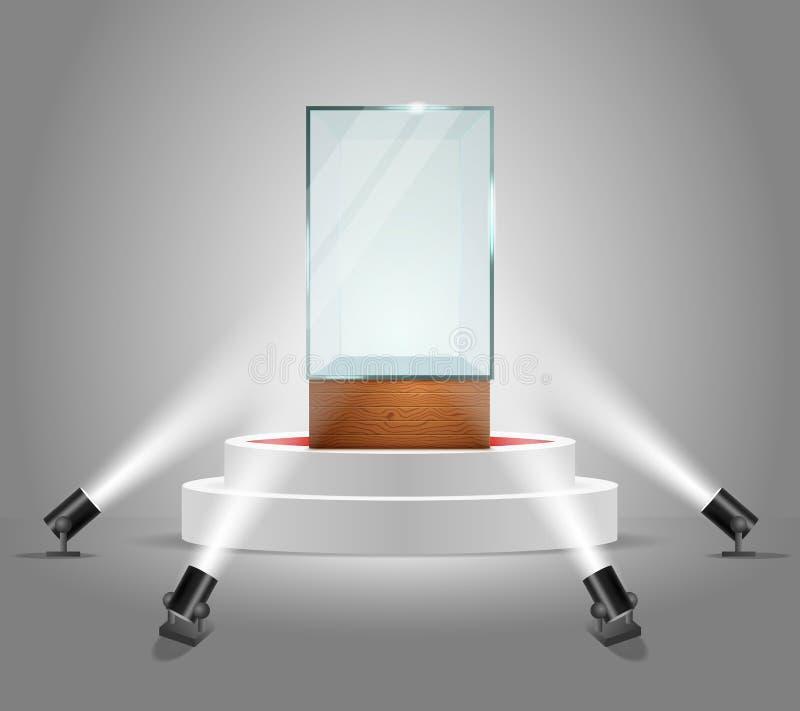Wektor iluminujący podium z pustą szklaną gablotą wystawową ilustracji