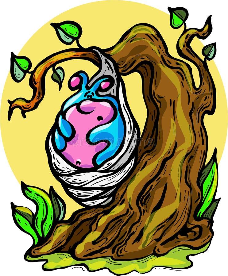 Wektor - ilustracja, gąsienica, kokon, lato, cud, oczekiwanie, radość, podniecenie, bajka, duży drzewo ilustracja wektor