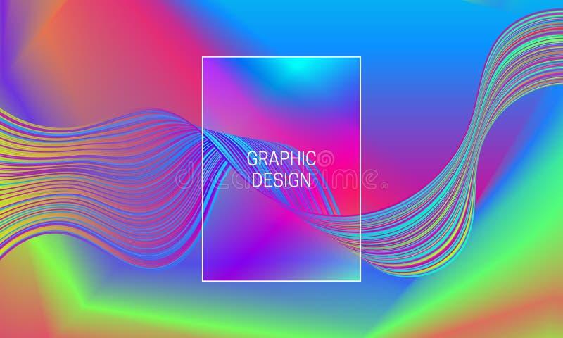 Wektor iryzuje wibrujące fale na gradientowym tle Szablon dla t?a pokolenia ilustracja wektor