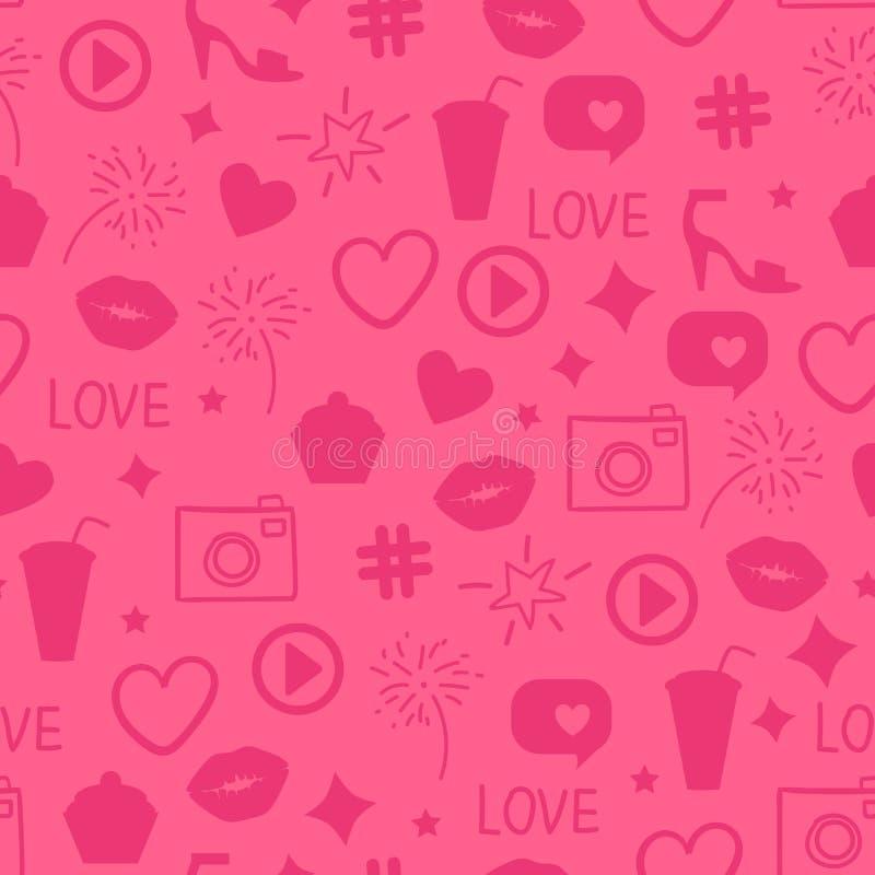 Wektor Jak girly wzór Abstrakt ikony różowej tekstury projekta powierzchni Bezszwowy tło Całuje, jak, serce, kamera, piękna przyj ilustracja wektor