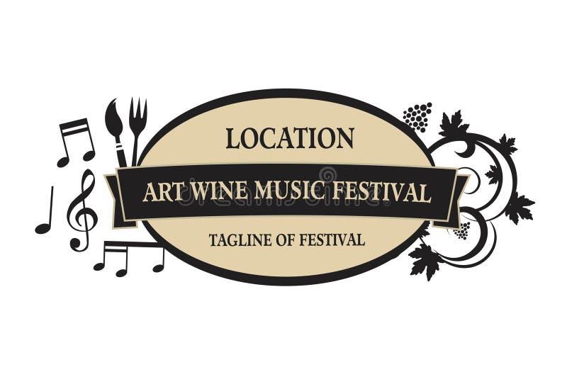 Wektor - jedzenie, wino, muzyka, sztuka festiwalu logo, odizolowywający na białym tle również zwrócić corel ilustracji wektora ilustracji