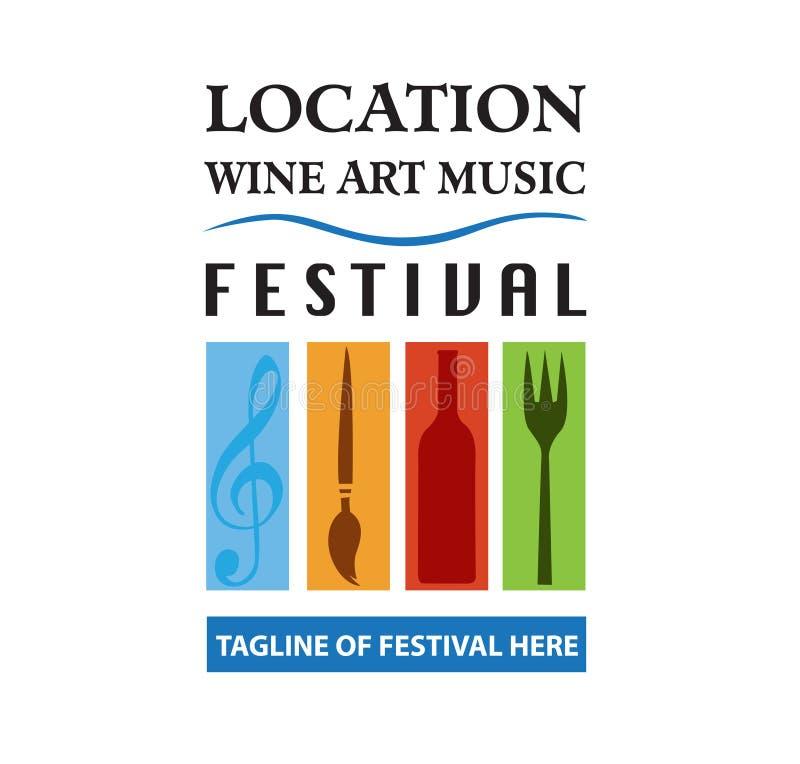 Wektor - jedzenie, wino, muzyka, sztuka festiwalu logo, odizolowywający na białym tle również zwrócić corel ilustracji wektora ilustracja wektor