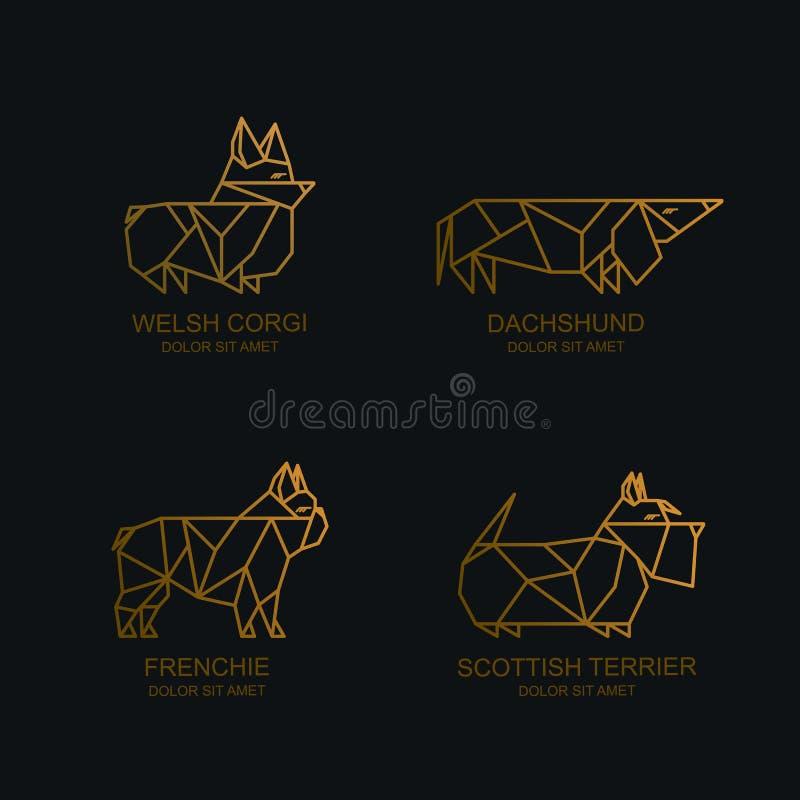 Wektor jest prześladowanym logo ikonę, emblemat Ilustracje jamnik, Welsh corgi pembroke, francuski buldog, szkocki terier ilustracji