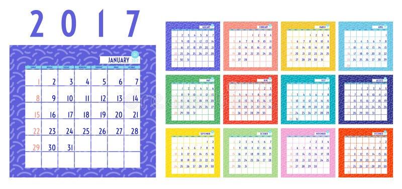 Wektor kalendarz 2017 rok, 12 miesięcy kalendarz z kolorowy ponownym ilustracji