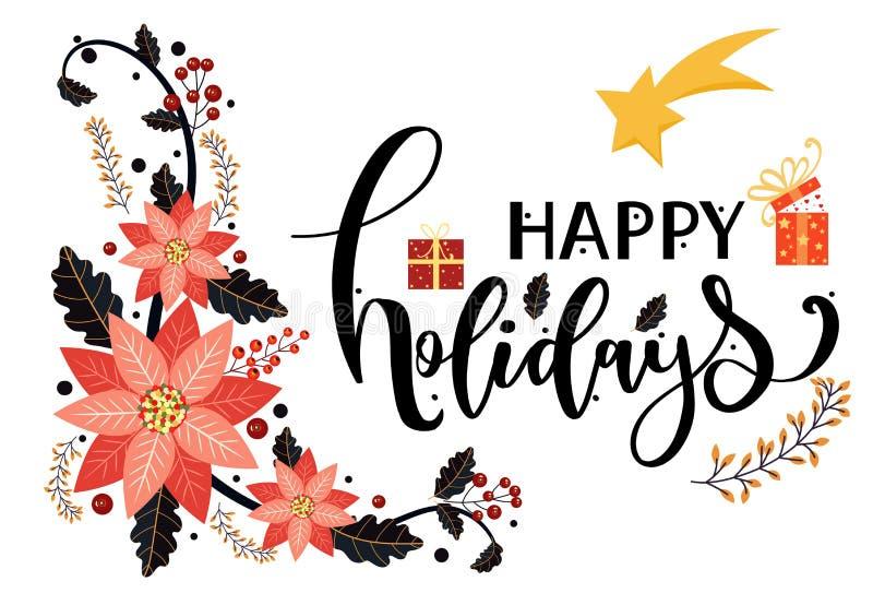 Wektor kart Happy Holidays, poinsettias z liśćmi i typografią Ilustracja ozdób dekoracyjnych Świętowanie świąt ilustracja wektor