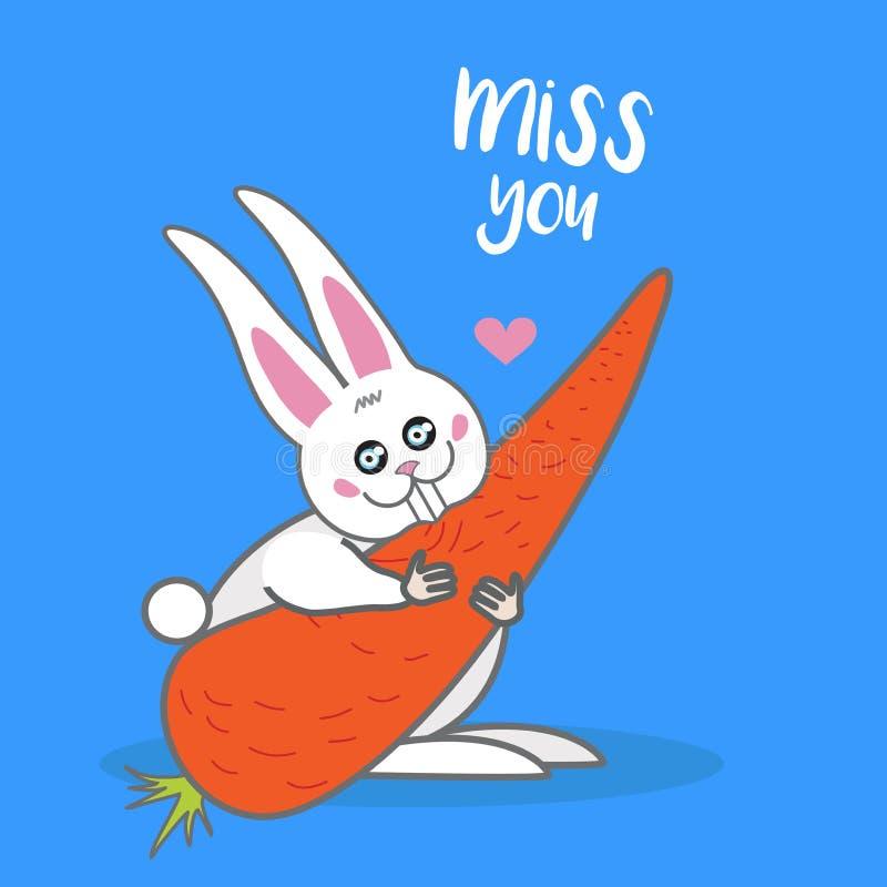Wektor karta, sztandaru literowanie pisze list Mnie brakuje ciebie, kreskówka śliczny królik z marchewką ilustracji