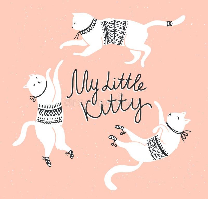 Wektor karta z ślicznymi białymi kotami i eleganckim literowaniem 'mój mała kiciunia' royalty ilustracja