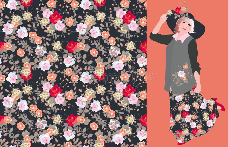 Wektor karta z bezszwowym kwiecistym drukiem z różami i powabnym dancingowym frenchwoman royalty ilustracja