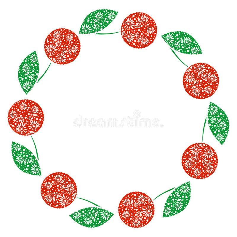 Wektor karta z jagodami Pusta round forma z ornamentacyjnymi wiśniami Dekoracyjna rama Serie karty, puste miejsca i formy, ilustracji