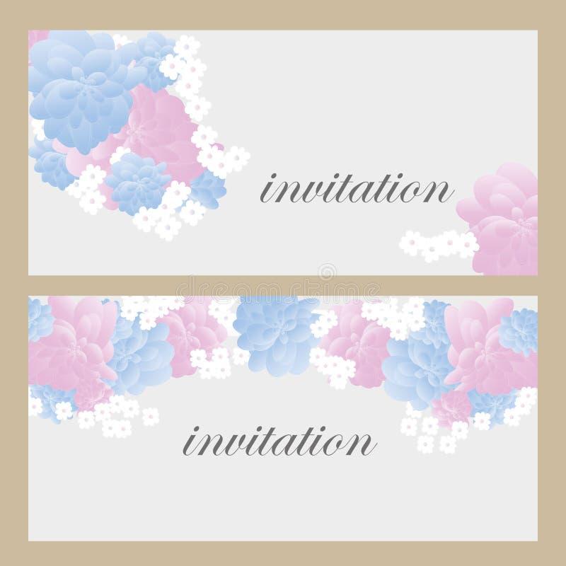 Wektor karta z kwiatami, może używać jako zaproszenie karta dla poślubiać, urodziny, inny lata tło i wakacje, i zdjęcia stock