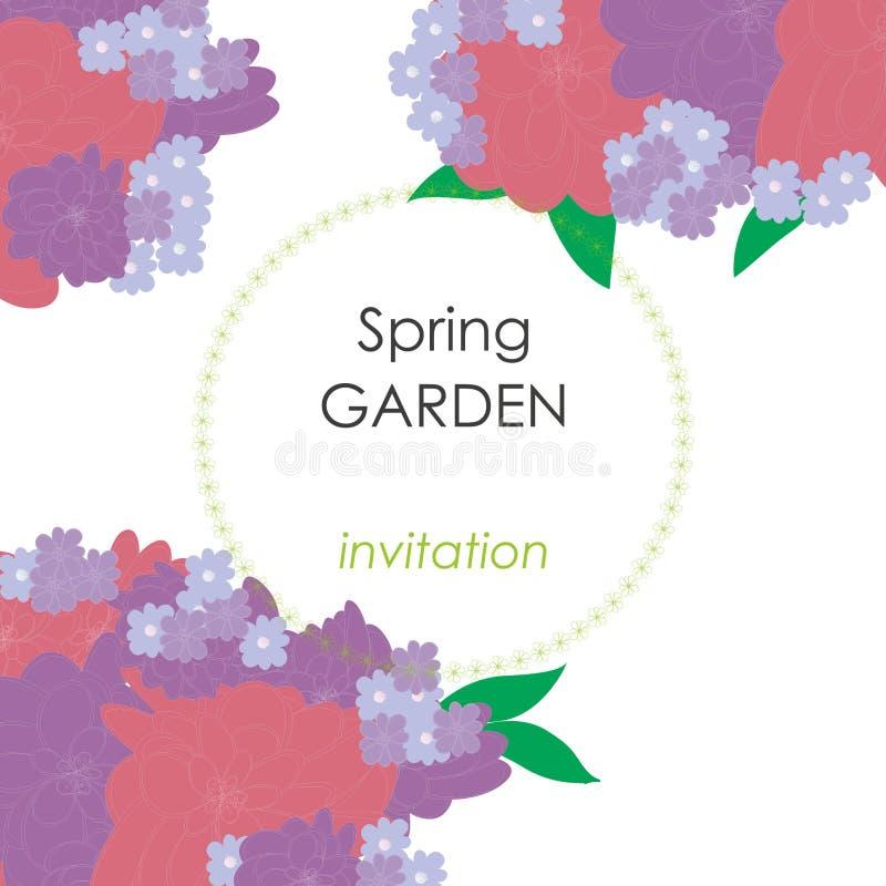 Wektor karta z kwiatami, może używać jako zaproszenie karta dla poślubiać, urodziny, inny lata tło i wakacje, i zdjęcia royalty free