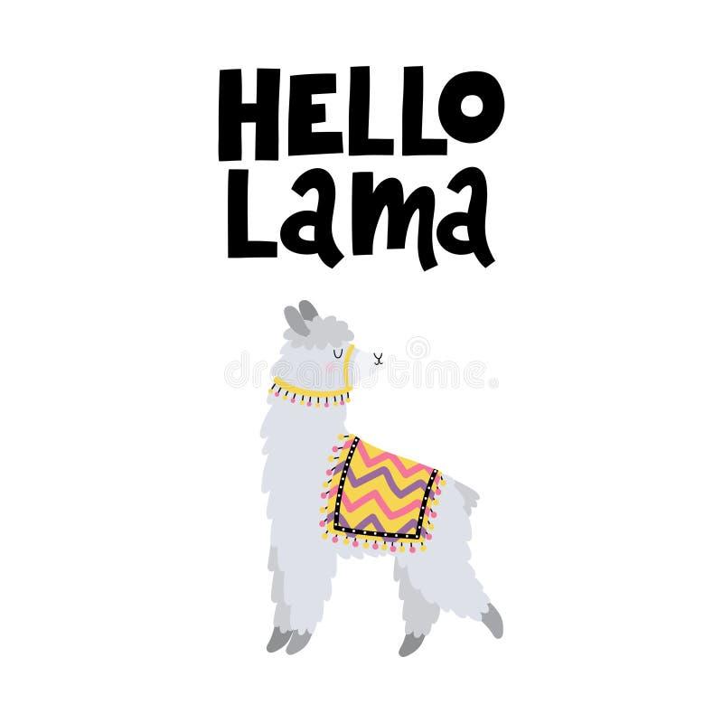 Wektor karta z lama i teksta lama Cześć zdjęcia royalty free