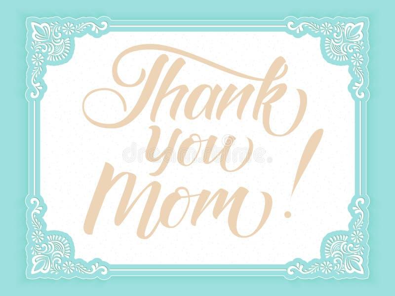 Wektor karta z literowaniem - Dziękuje Ciebie mama Elegancka nowożytna ręcznie pisany kaligrafia z dziękczynną wycena dla Macierz ilustracji