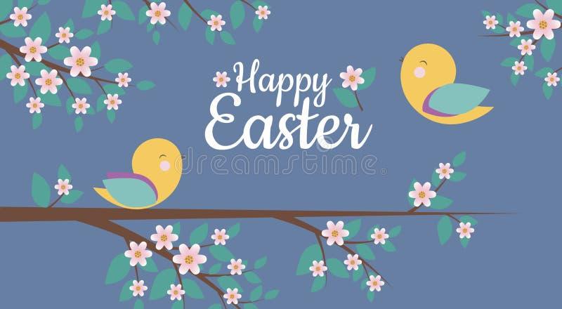 Wektor karta z Prostym projektem śliczni ptaki i Szczęśliwy Wielkanocny zwrot, royalty ilustracja