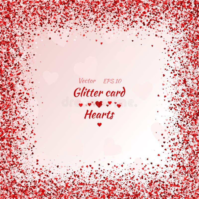 Wektor karta z shimmer kartka z pozdrowieniami z sercami royalty ilustracja