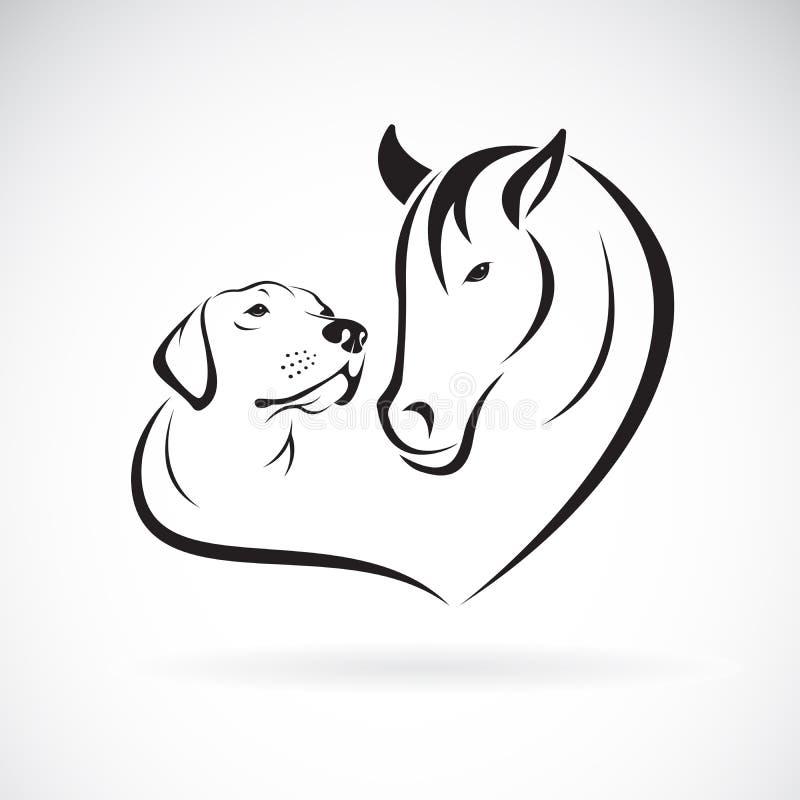 Wektor koń i dogLabrador na białym tle pet zwierz? ?atwa editable p?atowata wektorowa ilustracja royalty ilustracja