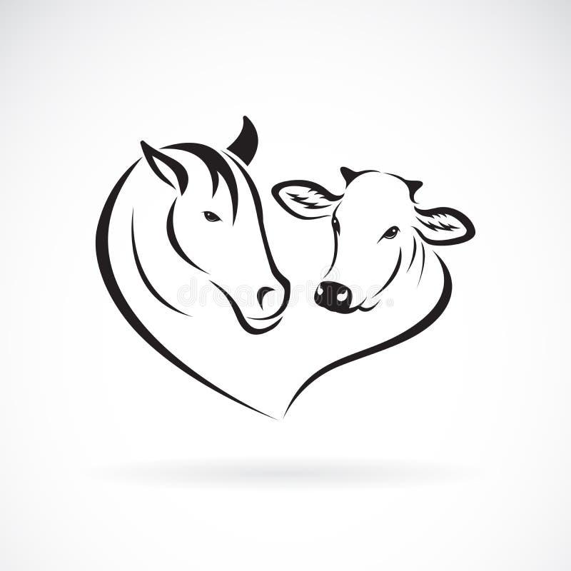 Wektor końskiej głowy i krowy głowy projekt na białym tle Zwierz?cia gospodarstwo rolne ?atwa editable p?atowata wektorowa ilustr ilustracja wektor