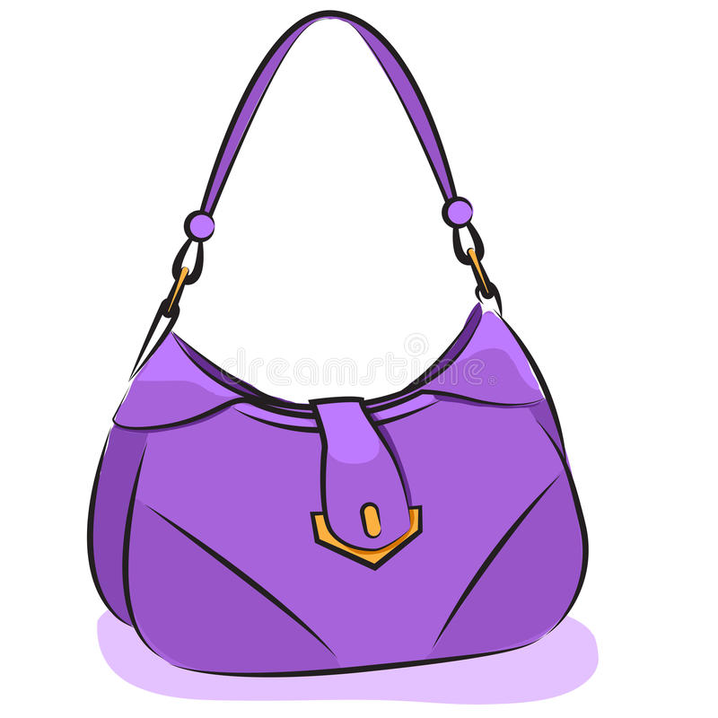 Wektor. Kobiety purpurowa torebka ilustracji