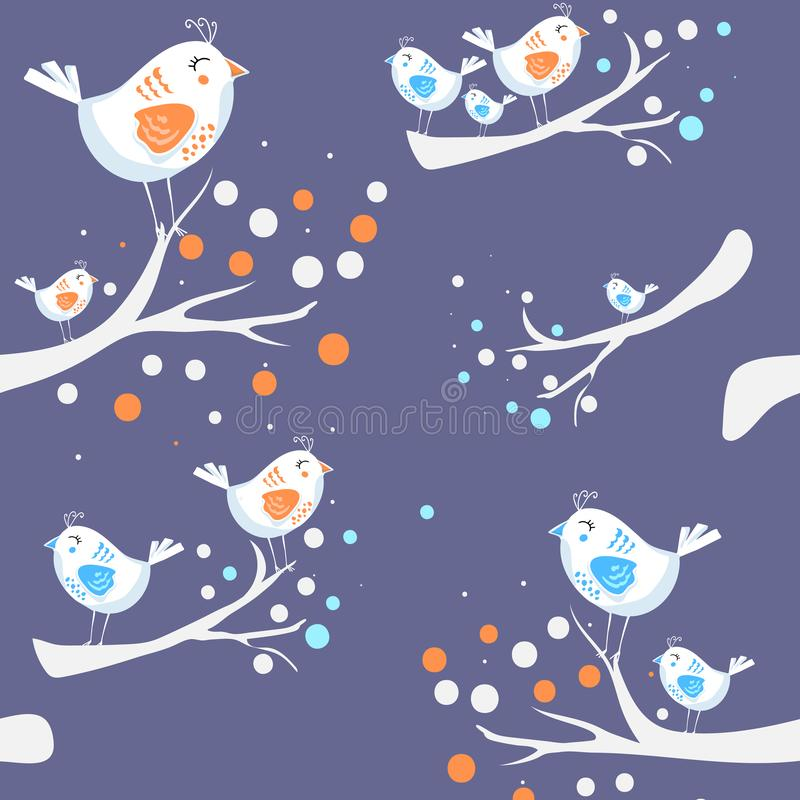 wektor Kolorowego doodle ptasi bezszwowy wzór   ilustracja wektor