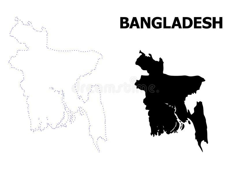Wektor kontur Kropkująca mapa Bangladesz z podpisem ilustracja wektor