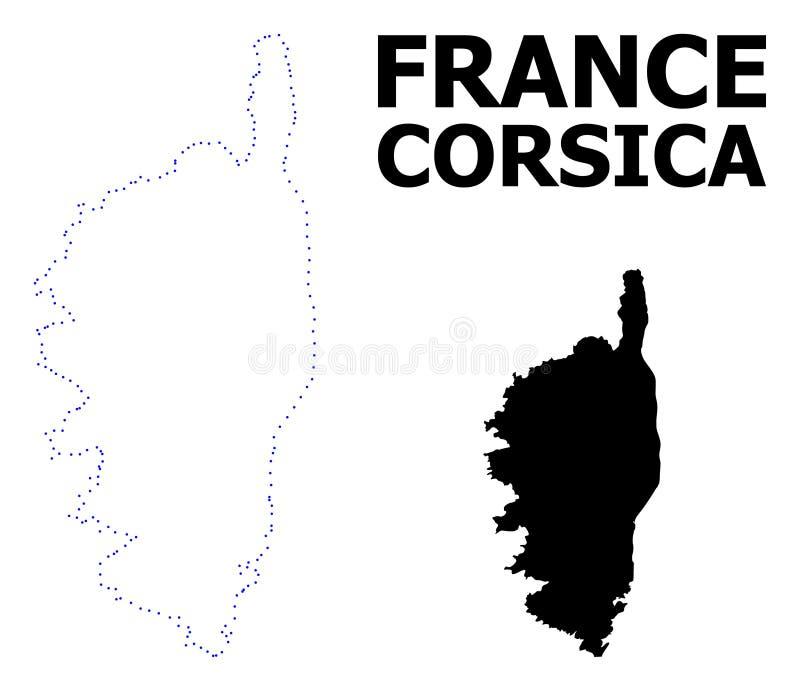 Wektor kontur Kropkująca mapa Corsica z imieniem ilustracji