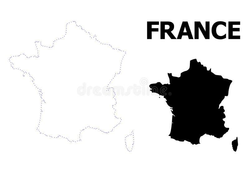 Wektor kontur Kropkująca mapa Francja z imieniem ilustracji