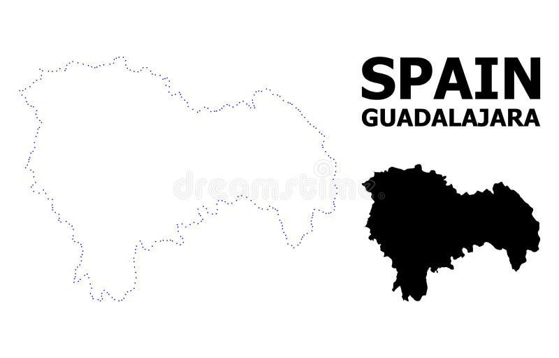 Wektor kontur Kropkująca mapa Guadalajara prowincja z imieniem royalty ilustracja