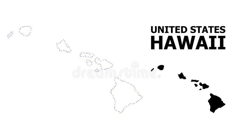 Wektor kontur Kropkująca mapa Hawaje stan z podpisem royalty ilustracja