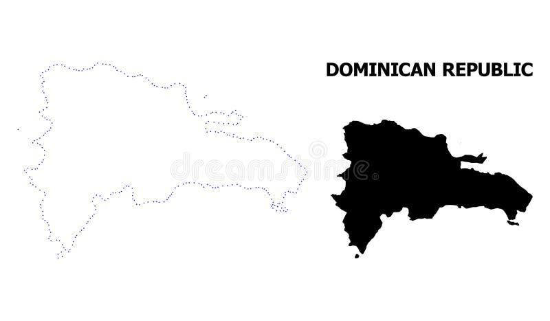 Wektor kontur Kropkująca mapa republika dominikańska z imieniem royalty ilustracja