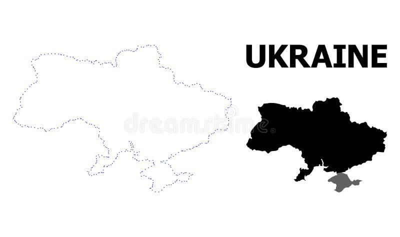 Wektor kontur Kropkująca mapa Ukraina z imieniem ilustracja wektor