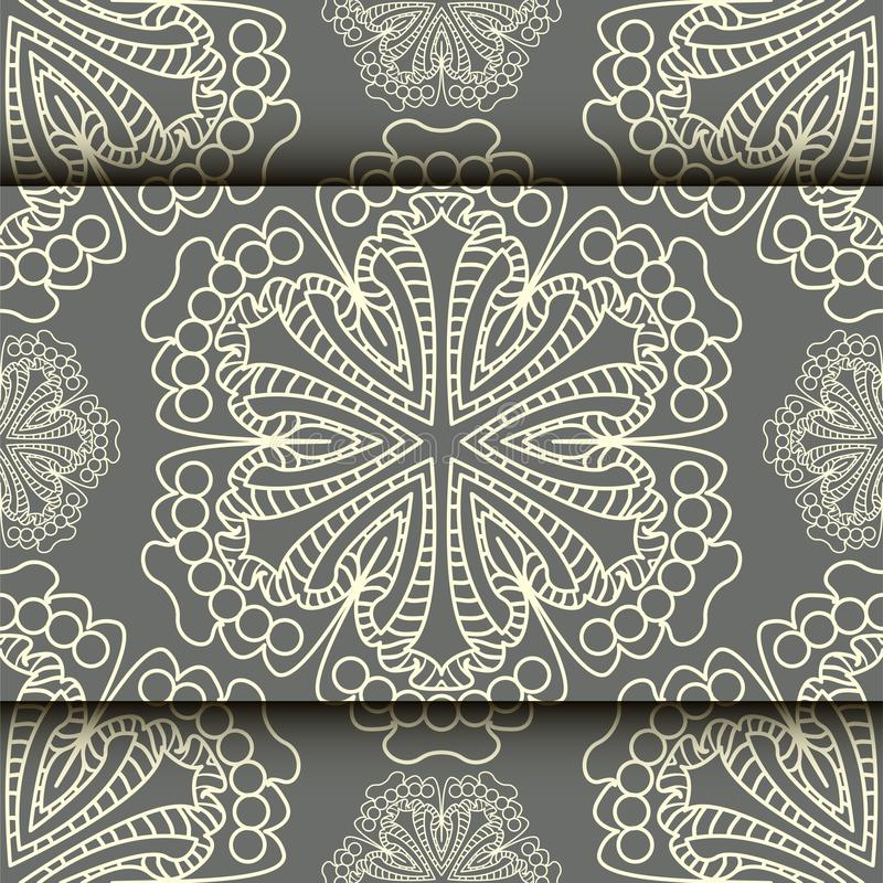 Wektor koronki wzór w Wschodnim stylu na ślimacznicy pracy tle ilustracji